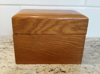Vintage Wood Recipe Box Oak Wood Dove tailed - Holds 3x5 Cards