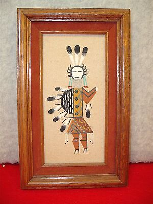 Native American Navajo Sand Painting signed by Alfred Yazzie
