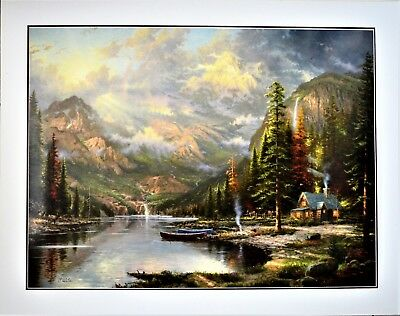 "Thomas Kinkade Original Large Lithograph 40"" Signed 718/770 I/p Mountain Majesty"