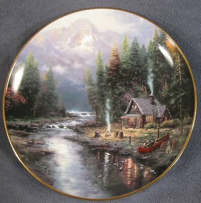 Quiet Evening at Riverlodge Wish You Were Here Thomas Kinkade Collector Plate