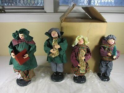 "Christmas Paper Mache Fabric  Choir Family Carolers Singers 11"" Figurines  NEW"
