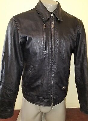 Harley Davidson Mens Ltd Ed CROSSOVER Black Leather Embossed HD Jacket Size Med.