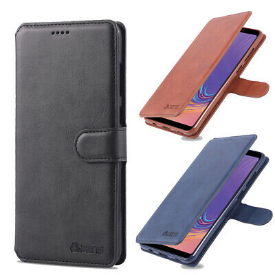 For Samsung Galaxy A7 A8 A9 2018 Wallet Case Leather Magnetic Card Slot Cover