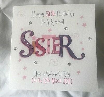 Handmade Personalised Birthday Card SISTER 18th 25th 30th 40th 50th 60th ANY AGE