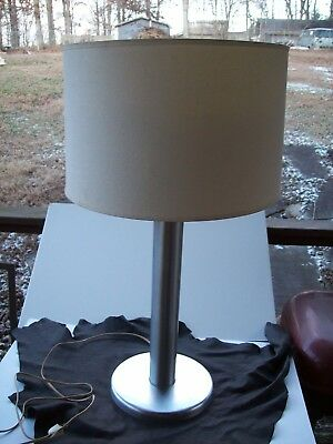 Antique 1940 Von Nessen Studio Spun Metal Cast Iron Base Minimalist Lamp W/shade