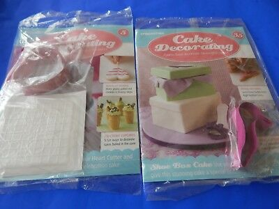 DeAGOSTINI CAKE DECORATING MAGAZINE 5 & 35 * SHOE & HEART COOKIE CUTTERS * NEW