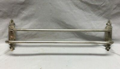 "Antique French Nickel Brass Double Towel Bar Fleur de Lis 20"" 737-18C"
