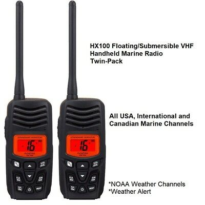 Standard Horizon 2- Pack HX100 Floating/Submersible Handheld VHF Marine Radio