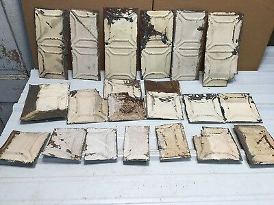 """19 pc Craft Lot 11"""" by 5.5"""" Antique Ceiling Tin Metal Reclaimed Salvage Art"""
