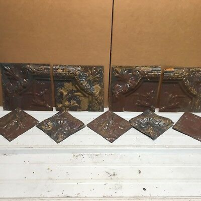 """9pc Craft Lot various sizes 6""""+ Antique Ceiling Tin Metal Reclaimed Salvage Art"""