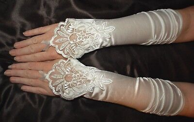 Ivory fingerless Lace + Satin formal gloves Wedding, bridal, prom, costume Party