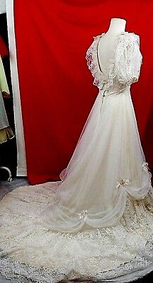 Vintage White and Cream Wedding Dress Size 12