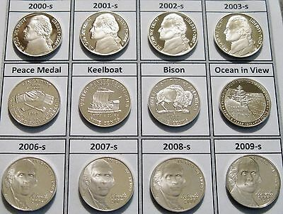 Set 12 Cameo Gem Proof Jefferson Nickels 2000-s to 2009-s Set Like Those Shown