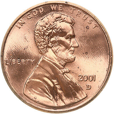 2001 D Lincoln Memorial Cent BU Penny US Coin