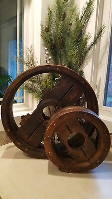 Antique Wooden Industrial Foundry Mold/Gear/ Wheels - Large & Small.