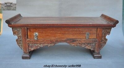 Old Chinese Dynasty Huanghuali Wood Hand-carved Drawer Cabinet coffee table Desk
