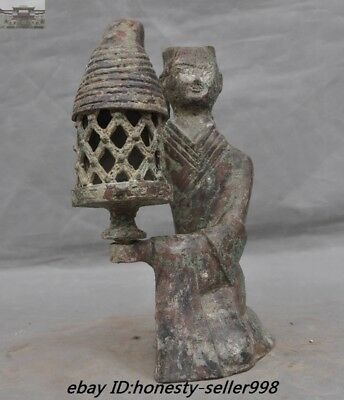 Antiques Old Chinese Han Dynasty Bronze Ware Long letter lantern Palace lights