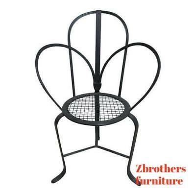 Vintage 3 Legged Fan Back Wrought Iron  Desk Arm Chair Mediterranean