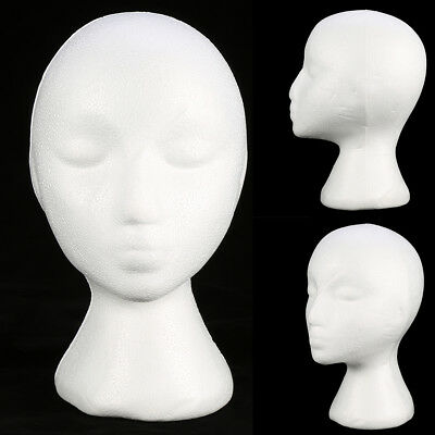 Styrofoam Foam Mannequin Female Head Model Wig Glasses Hat Display Stand