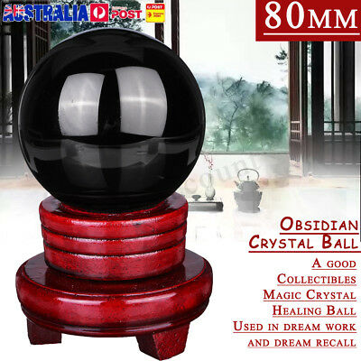 80MM Large Black Obsidian Sphere Crystal Ball Healing + Wooden Stand Home Decor
