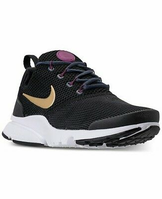 df040c1cef3f NWB GIRLS  GS Nike Presto Fly Casual Shoes Black Gold Tea Berry ...