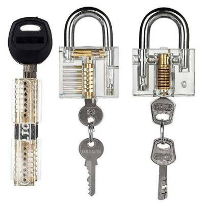 3pcs Transparent Lock Locksmith With Practice Padlocks Unlocking Tools Pick Set