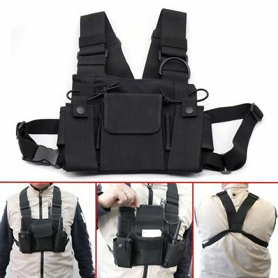 For Radio Walkie Talkie Chest 3 Pocket Harness Nylon Bag Pack Backpack Holster