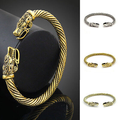 Chic Men Wolf Head Bracelet Jewelry Vintage Wristband Cuff Bangles Viking Decor