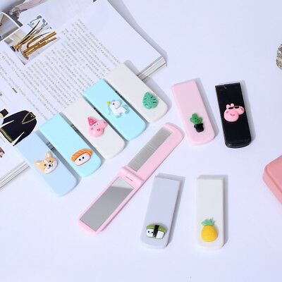 Portable Travel Folding Hair Comb With Mirror Compact Pocket Size Comb