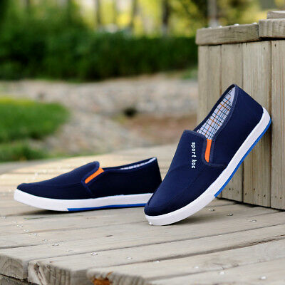 Men's Canvas Peas Driving Moccasin Slip On Loafers Boat Casual Breathable Shoes