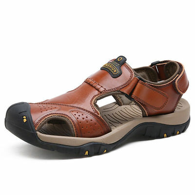 Summer Men Beach Real Leather Fisherman Casual Sandals Closed Toe Outdoor Shoes
