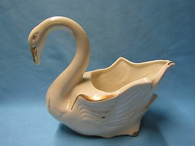 VINTAGE McCOY POTTERY WHITE GLAZED WITH GOLD TRIM SWAN PLANTER PLANTERS