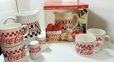 Coca Cola 7-Piece Stoneware Serving Set  Pitcher/ Mugs/Salt & Pepper Set 1996