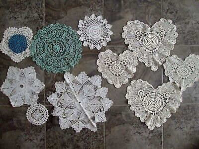Lot of 10 Hand Crochet Doilies White Natural Green Heart Star Tea Party Cotton