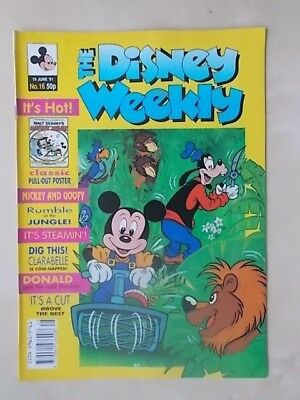 THE DISNEY WEEKLY COMIC ISSUE No 16 - JUNE 19th 1991 - WITH CLASSIC POSTER