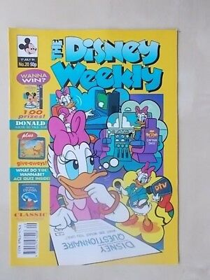 THE DISNEY WEEKLY COMIC ISSUE No 20 - JULY 17th 1991 - WITH CLASSIC POSTER