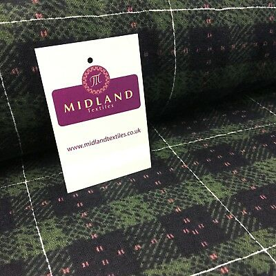 "Navy & Green Tartan Check Print Cotton Wynciette Brushed Fabric 58"" Wide M1019-6"