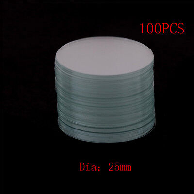 100Pcs Circular Round Microscope Slide Coverslip Cover Glass Diameter 25mm HGUK