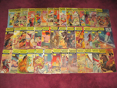 Lot 41 vintage silver age Classics Illustrated comics w/ 34 first editions
