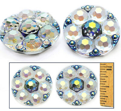 27mm Vintage Czech Glass Faceted RADIANT CRYSTAL AB Bubble Flower Buttons 2pc
