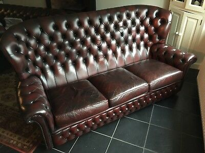 Terrific Chesterfield Monk Style Leather Sofa In Oxblood Red Cjindustries Chair Design For Home Cjindustriesco