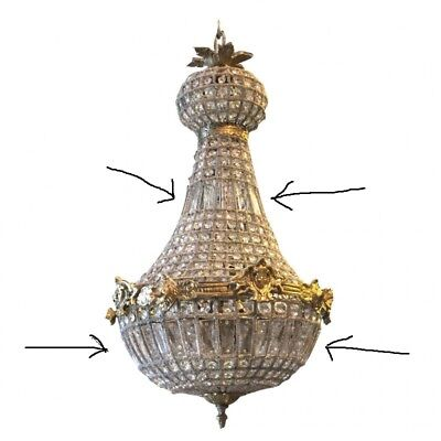 Glass And Brass Chandelier - Antique French Style - 625
