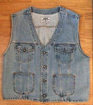 Vintage Guess Jeans Mens Button Up Denim Vest  Made in USA Sz Large