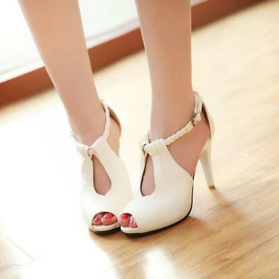 e3bd689e9 Sandals Women Buckle Stylish Ankle Strap High Heel Stiletto Open Toe Hollow  Out