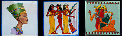 Egyptian Ancient Ceramic Tiles,  Hand Painted - Nefertiti, Musicans and Maidens