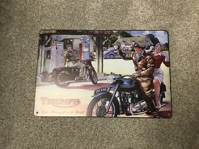 Vintage Retro Style Metal Tin Sign Poster Triumph Rare Cave Wall Home