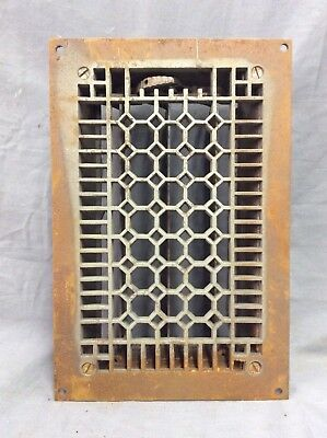 Antique Cast Iron Honeycomb Heat Grate Floor Register 8X12 Vintage Old 8-19D