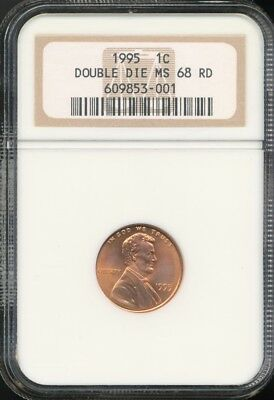 1995 Lincoln Memorial Cent DDO - NGC MS68 RD - Double Die Obverse Error