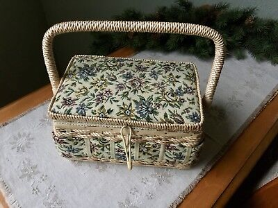 VINTAGE Tapestry Top Sewing Wicker Basket with Handle & Extras NICE!!!