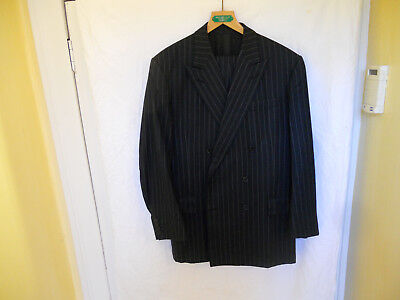 Weatherill Blue Calk Stripe Double Breasted Bespoke Suit 42 44 Chest